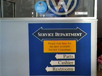 VW Service Department Sign