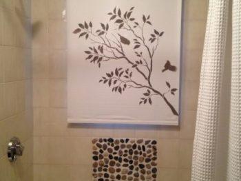 Stenciled Bathroom Shade