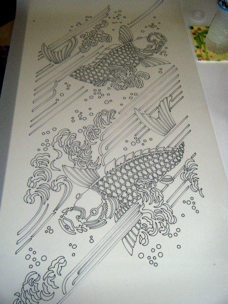 Uncut fish stencil