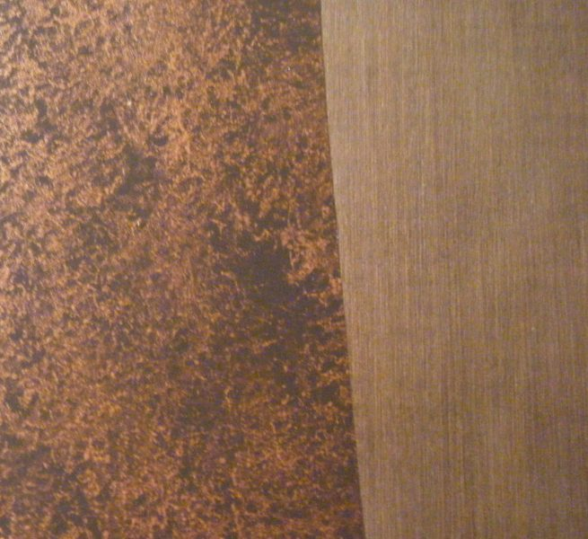 Hammered copper:striae