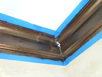 Wet plaster in corners