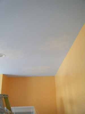 Orange walls:ceiling