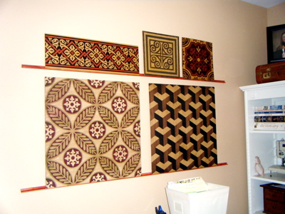 Faux marquetryon wall