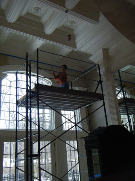 Susan on scaffolding